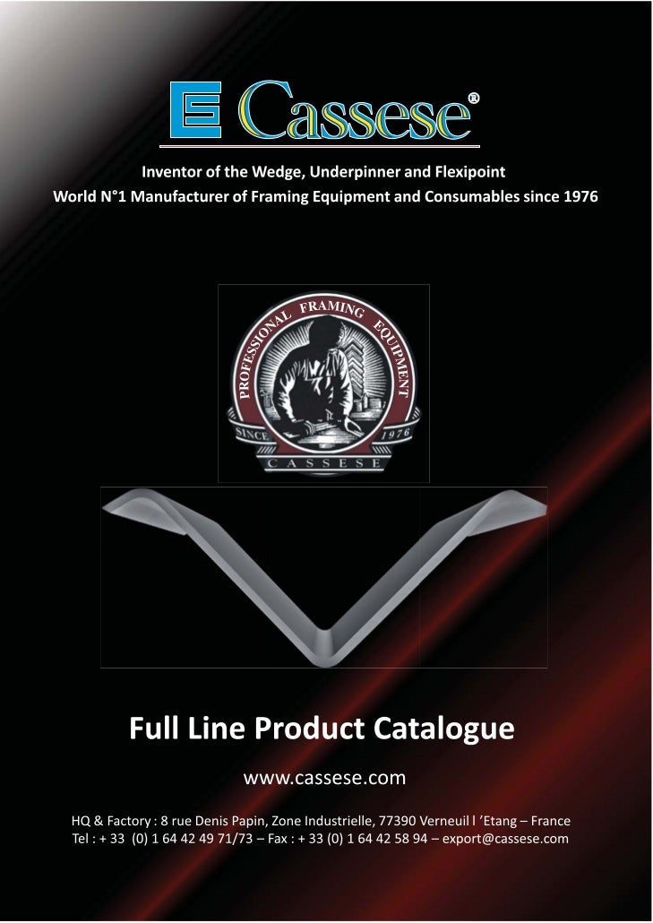 CASSESE FULL LINE PRODUCTS CATALOGUE                           M                     CONTENTS                             ...