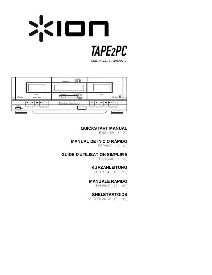 Cassette to MP3 Converter TAPE 2 PC Quickstart Guide