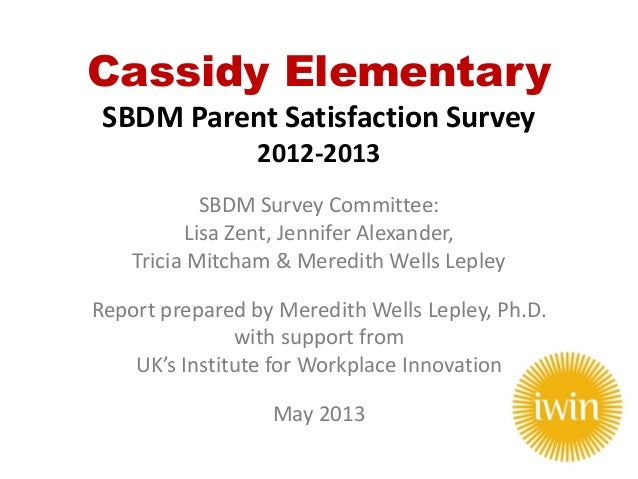 Cassidy Elementary SBDM Parent Satisfaction Survey 2012-2013 SBDM Survey Committee: Lisa Zent, Jennifer Alexander, Tricia ...