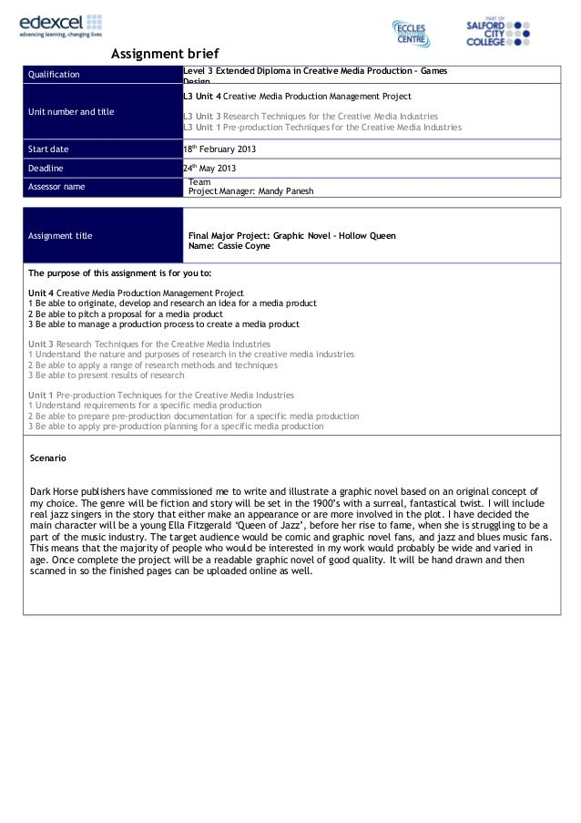 Assignment briefQualification                         Level 3 Extended Diploma in Creative Media Production – Games       ...