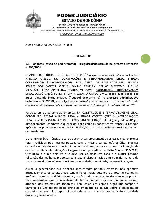 PODER JUDICIÁRIO ESTADO DE RONDÔNIA 1ª Vara Cível da comarca de Rolim de Moura Corregedoria Permanente das Serventias Extr...