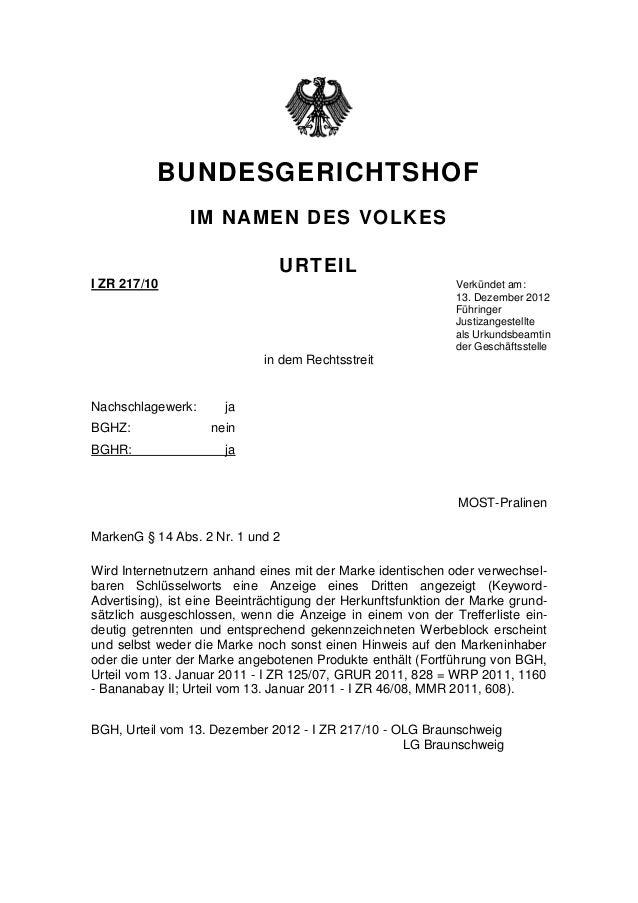 BUNDESGERICHTSHOF                IM NAMEN DES VOLKES                                URTEILI ZR 217/10                     ...