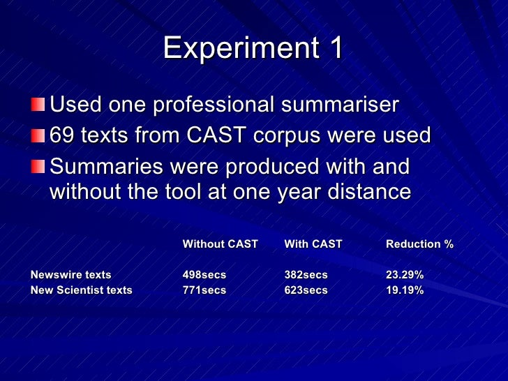 Experiment 1 <ul><li>Used one professional summariser </li></ul><ul><li>69 texts from CAST corpus were used </li></ul><ul>...