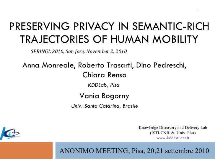 PRESERVING PRIVACY IN SEMANTIC-RICH TRAJECTORIES OF HUMAN MOBILITY Anna Monreale, Roberto Trasarti, Dino Pedreschi, Chiara...