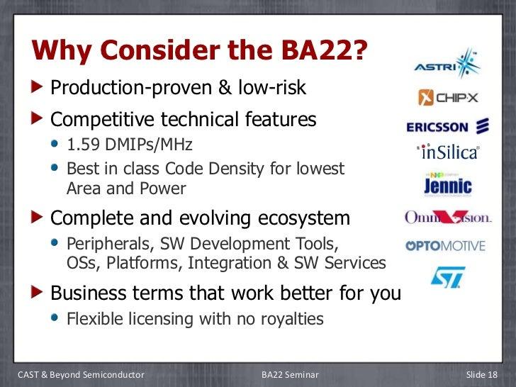 CAST BA22 32-bit Processor Design Seminar, 2/1/12