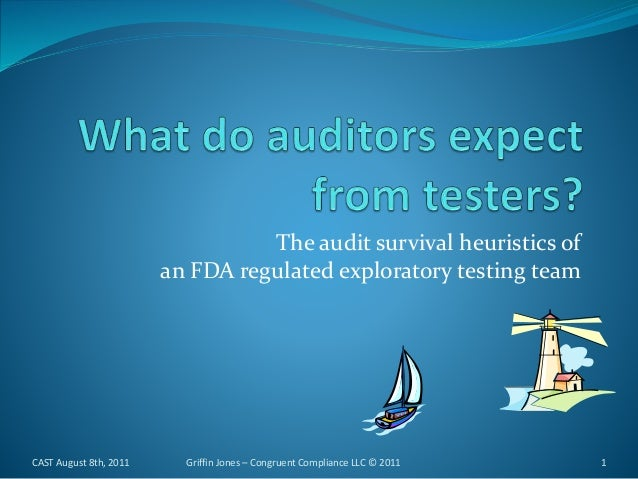 The audit survival heuristics of an FDA regulated exploratory testing team CAST August 8th, 2011 1Griffin Jones – Congruen...