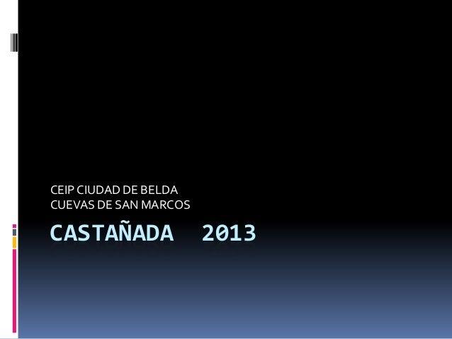 CEIP CIUDAD DE BELDA CUEVAS DE SAN MARCOS  CASTAÑADA  2013