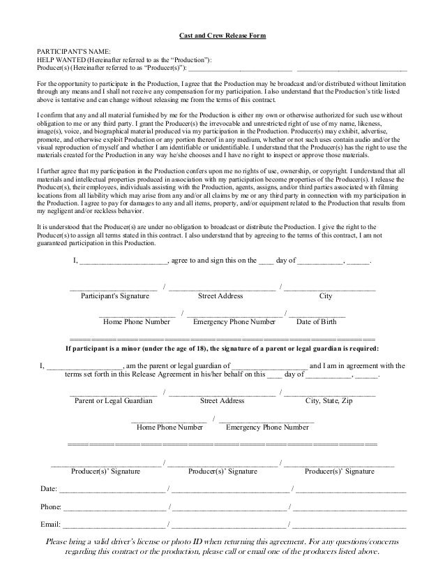 Cast And Crew Release Form