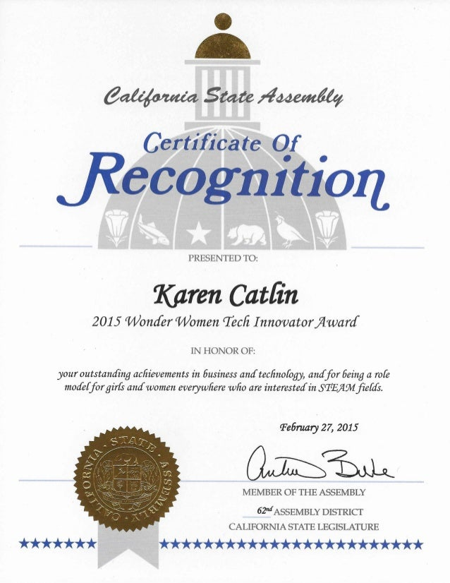 CA State Assembly Award