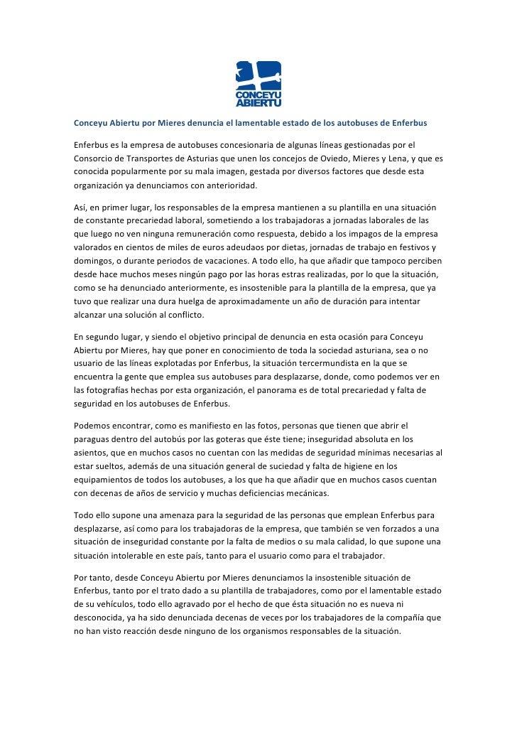 Conceyu Abiertu por Mieres denuncia el lamentable estado de los autobuses de EnferbusEnferbus es la empresa de autobuses c...