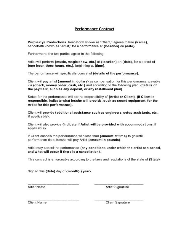 Cast contract for Acting contract template