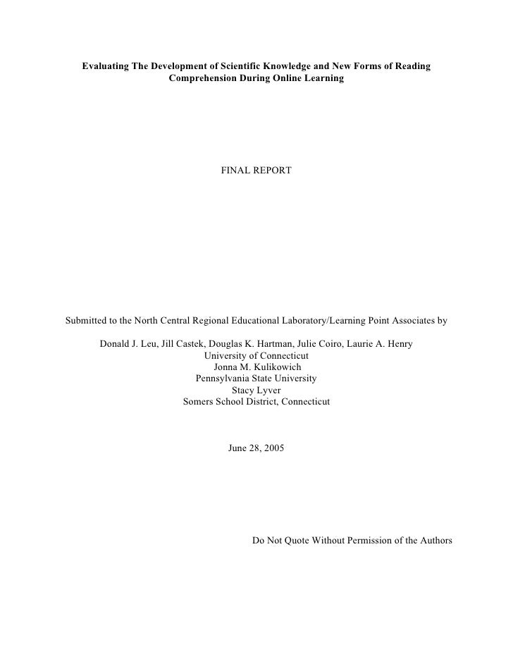 Evaluating The Development of Scientific Knowledge and New Forms of Reading                     Comprehension During Onlin...