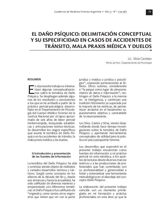 79 RESUMEN En el presente trabajo se sistema- tizan algunas conceptualizacio- nes sobre la temática de Daño Psíquico. Se d...