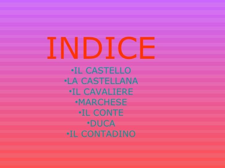 <ul><li>INDICE </li></ul><ul><li>IL CASTELLO </li></ul><ul><li>LA CASTELLANA </li></ul><ul><li>IL CAVALIERE </li></ul><ul>...