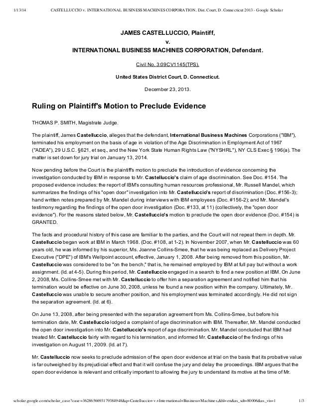 1/13/14  CASTELLUCCIO v. INTERNATIONAL BUSINESS MACHINES CORPORATION, Dist. Court, D. Connecticut 2013 - Google Scholar  J...