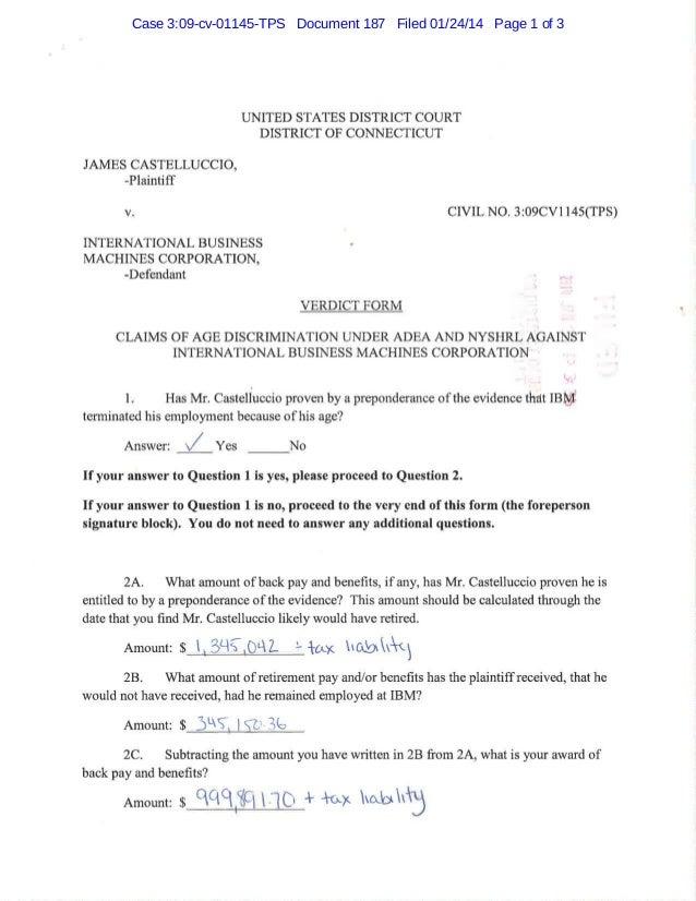 Castelluccio v. IBM -- Jury Verdict Form