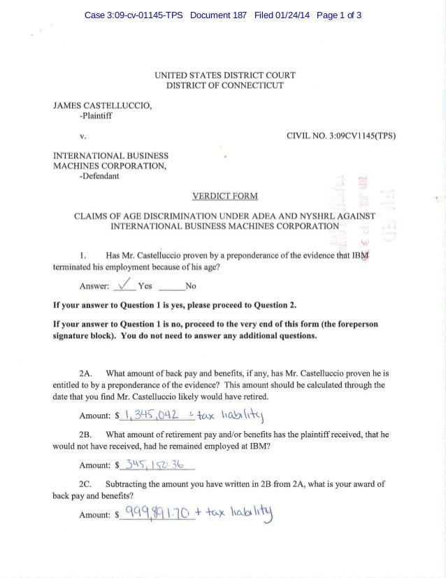 Case 3:09-cv-01145-TPS Document 187 Filed 01/24/14 Page 1 of 3  UNITED STATES DISTRICT COURT DISTRICT OF CONNECTICUT JAMES...