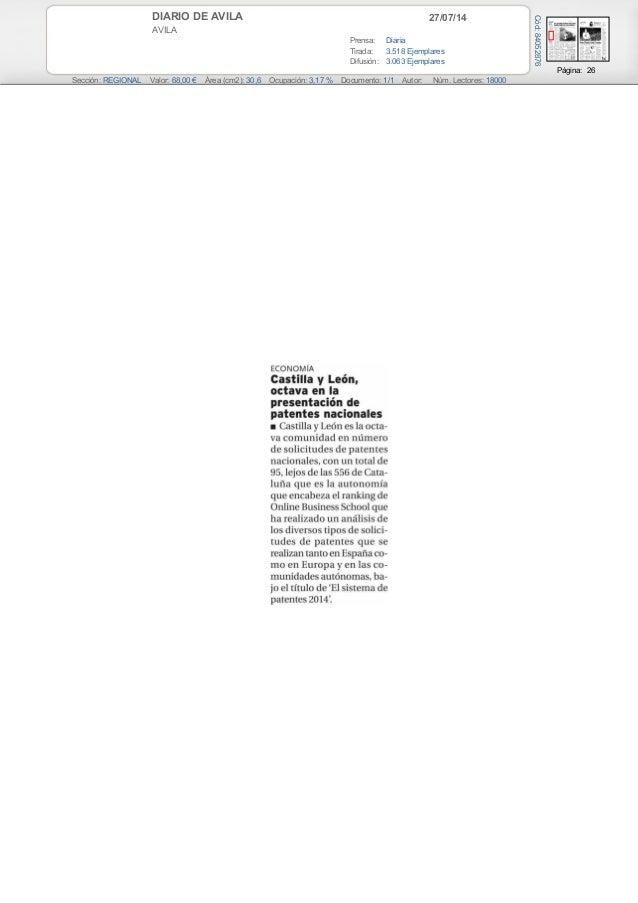 27/07/14DIARIO DE AVILA AVILA Prensa: Diaria Tirada: 3.518 Ejemplares Difusión: 3.063 Ejemplares Página: 26 Sección: REGIO...