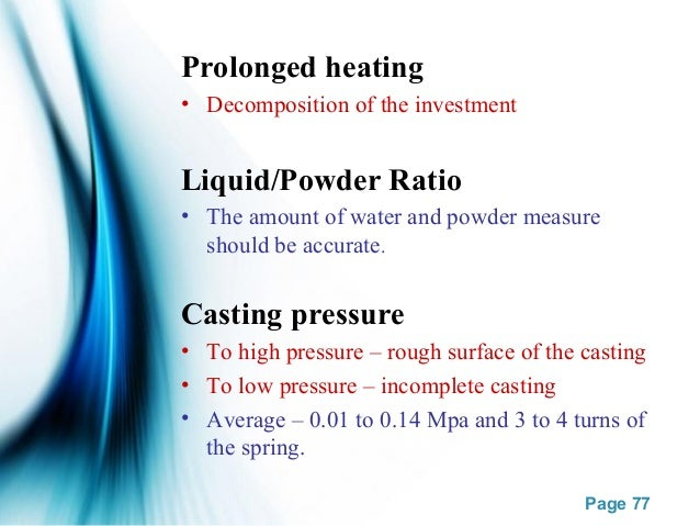 Casting procedure & defects
