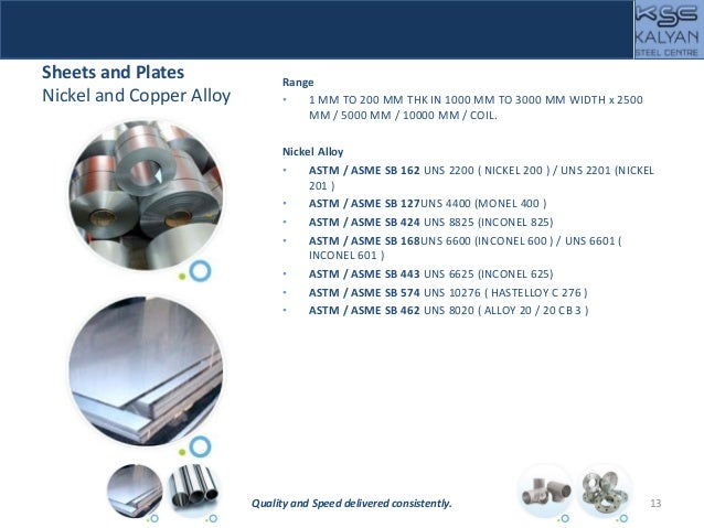 Sheets and Plates Nickel and Copper Alloy Range • 1 MM TO 200 MM THK IN 1000 MM TO 3000 MM WIDTH x 2500 MM / 5000 MM / 100...