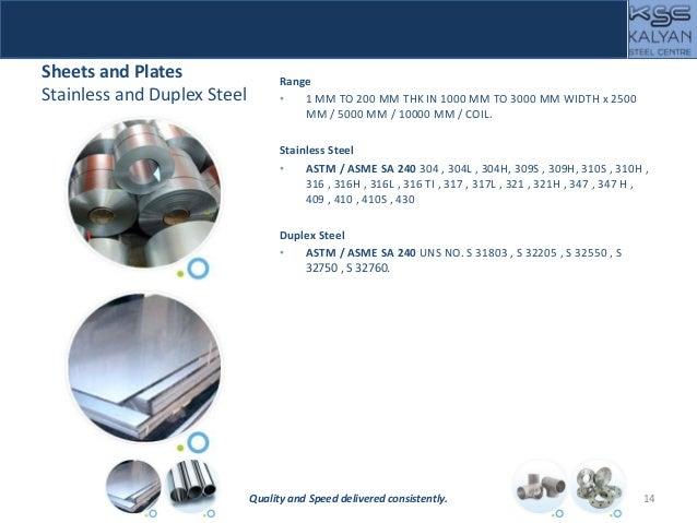 Sheets and Plates Stainless and Duplex Steel Range • 1 MM TO 200 MM THK IN 1000 MM TO 3000 MM WIDTH x 2500 MM / 5000 MM / ...