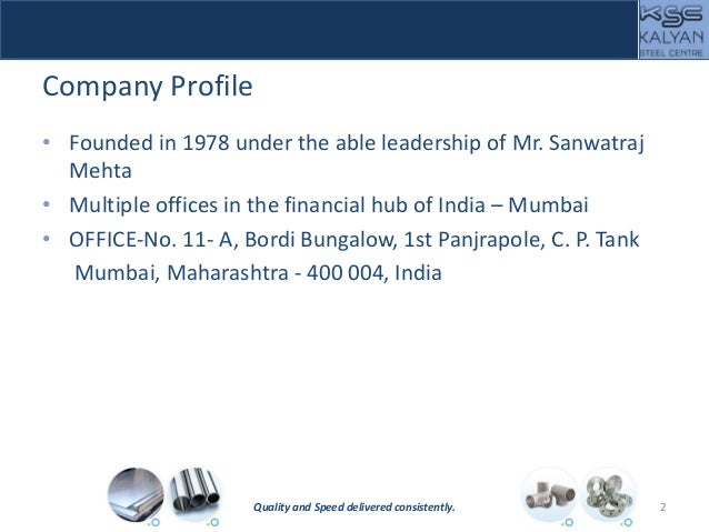 Company Profile • Founded in 1978 under the able leadership of Mr. Sanwatraj Mehta • Multiple offices in the financial hub...