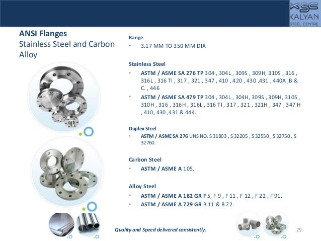 ANSI Flanges Stainless Steel and Carbon Alloy Range • 3.17 MM TO 350 MM DIA Stainless Steel • ASTM / ASME SA 276 TP 304 , ...