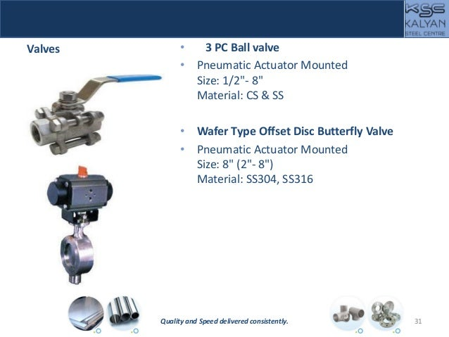 """Valves • 3 PC Ball valve • Pneumatic Actuator Mounted Size: 1/2""""- 8"""" Material: CS & SS • Wafer Type Offset Disc Butterfly ..."""
