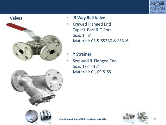 """Valves • 3 Way Ball Valve • Crewed Flanged End Type: L Port & T Port Size: 1"""" 8"""" Material: CS & SS330 & SS316 • Y Strainer..."""