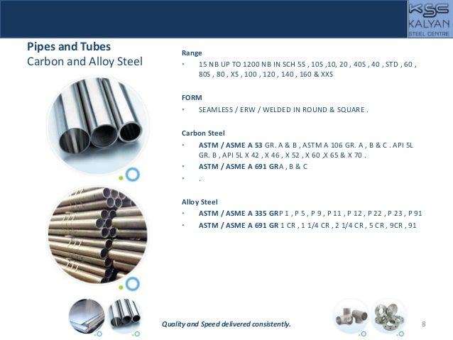 Pipes and Tubes Carbon and Alloy Steel Range • 15 NB UP TO 1200 NB IN SCH 5S , 10S ,10, 20 , 40S , 40 , STD , 60 , 80S , 8...