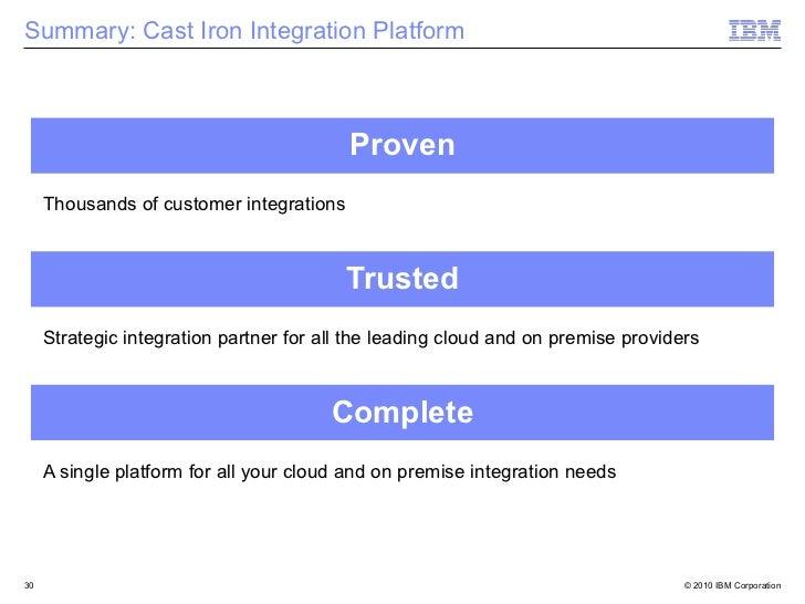 Summary: Cast Iron Integration Platform                                          Proven     Thousands of customer integrat...