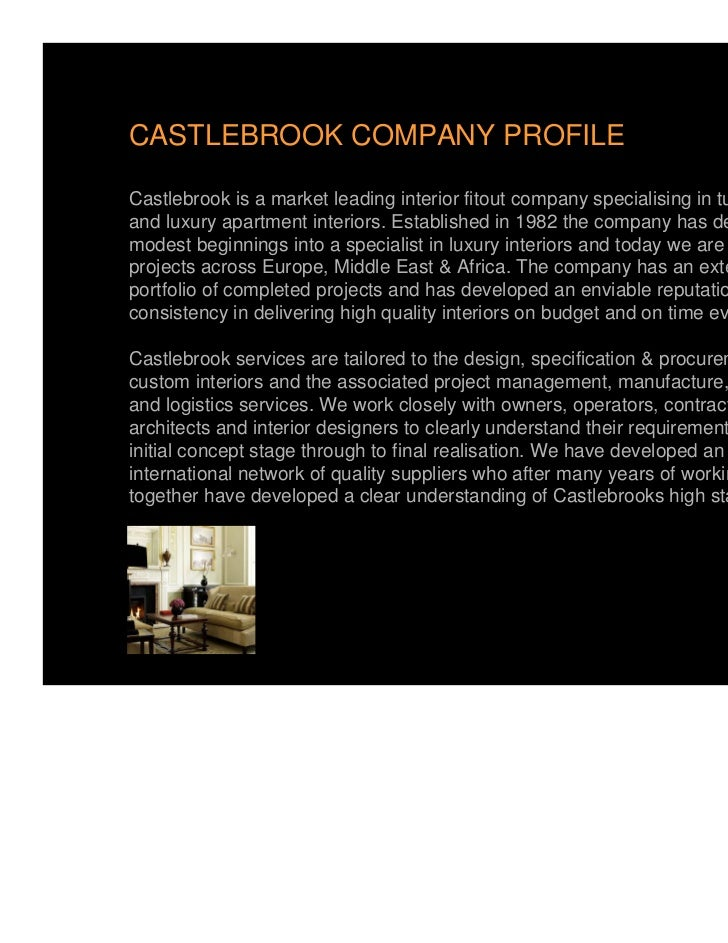 CASTLEBROOK COMPANY PROFILECastlebrook is a market leading interior fitout company specialising in turnkey hoteland luxury...