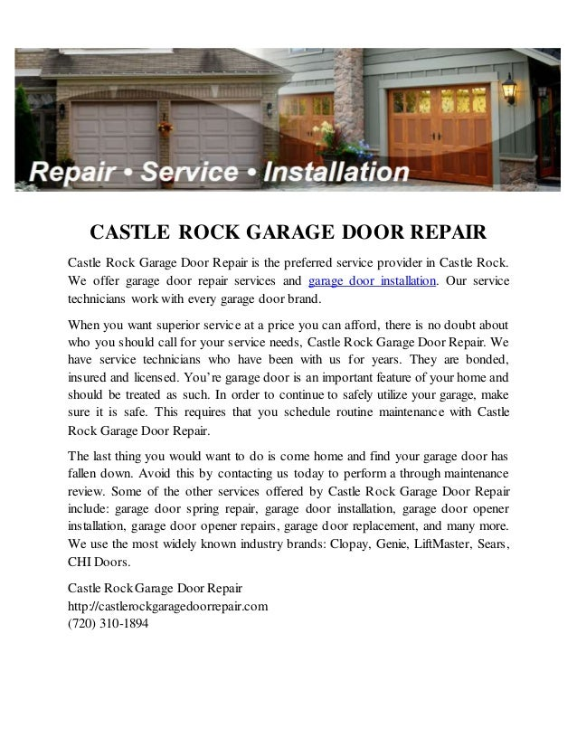 Delicieux CASTLE ROCK GARAGE DOOR REPAIR Castle Rock Garage Door Repair Is The  Preferred Service Provider In