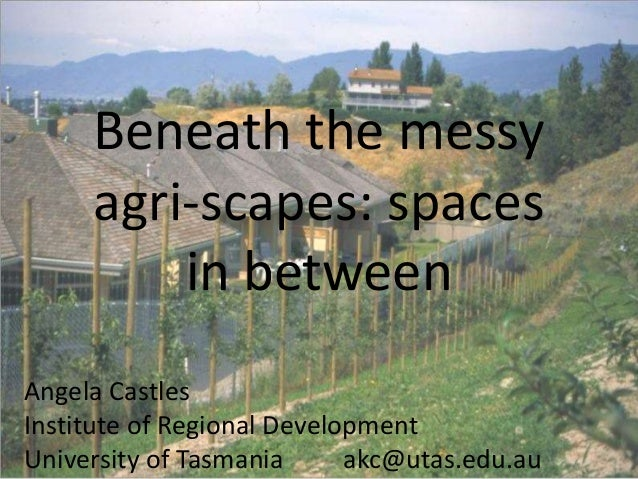 Beneath the messy agri-scapes: spaces in between Angela Castles Institute of Regional Development University of Tasmania a...