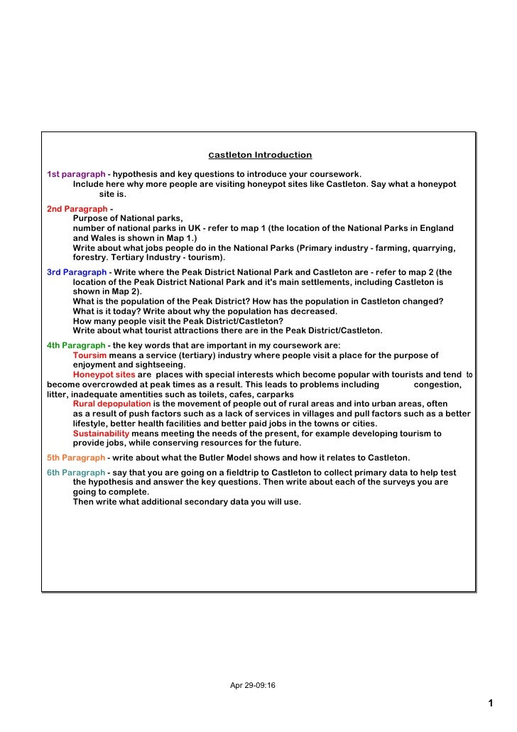 Castleton Introduction  1st paragraph  hypothesis and key questions to introduce your coursework.       Include here why ...