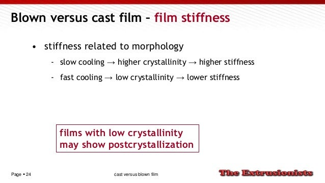 Page  24 Blown versus cast film – film stiffness • stiffness related to morphology - slow cooling → higher crystallinity ...