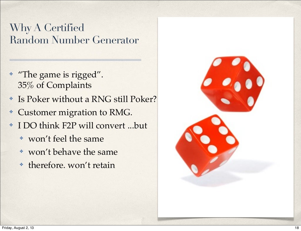 Why A Certified Random Number Generator Based Game