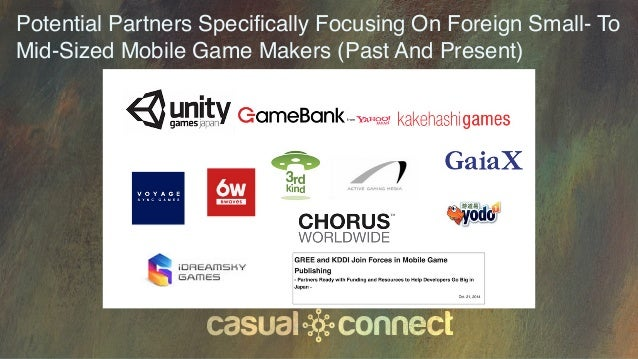 Potential Partners Specifically Focusing On Foreign Small- To Mid-Sized Mobile Game Makers (Past And Present)