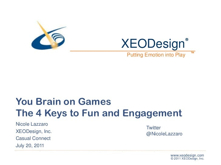XEODesign<br />®<br />®<br />™<br />™<br />Putting Emotion into Play<br />You Brain on Games<br />The 4 Keys to Fun and En...