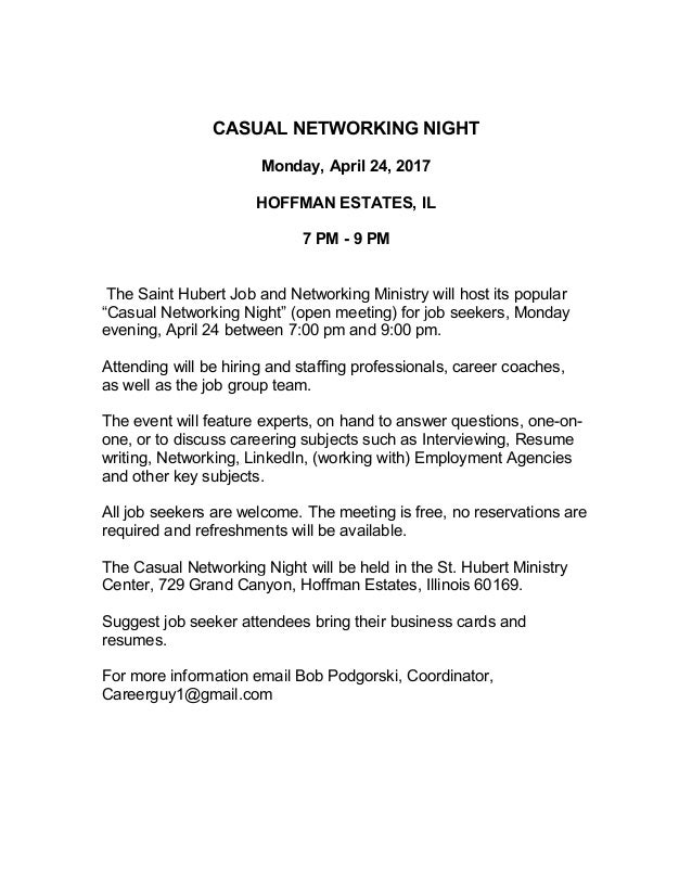 Casual Networking Night - April 24, 2017, Hoffman Estates, IL