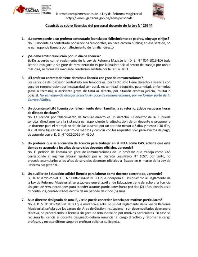 LICENCIAS Y PERMISOS LEY 29944