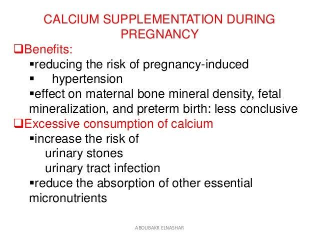 Calcium supplementation in pregnant women