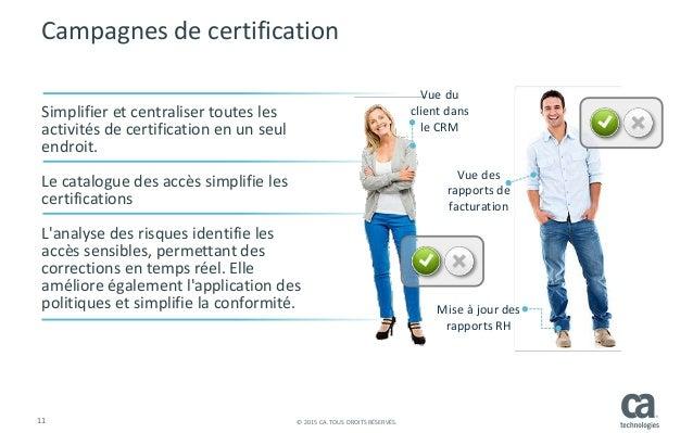11 © 2015 CA. TOUS DROITS RÉSERVÉS. Campagnes de certification Simplifier et centraliser toutes les activités de certifica...
