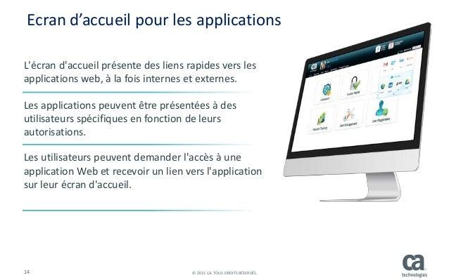 14 © 2015 CA. TOUS DROITS RÉSERVÉS. L'écran d'accueil présente des liens rapides vers les applications web, à la fois inte...