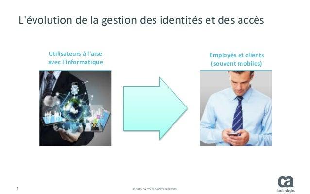 4 © 2015 CA. TOUS DROITS RÉSERVÉS. L'évolution de la gestion des identités et des accès Utilisateurs à l'aise avec l'infor...