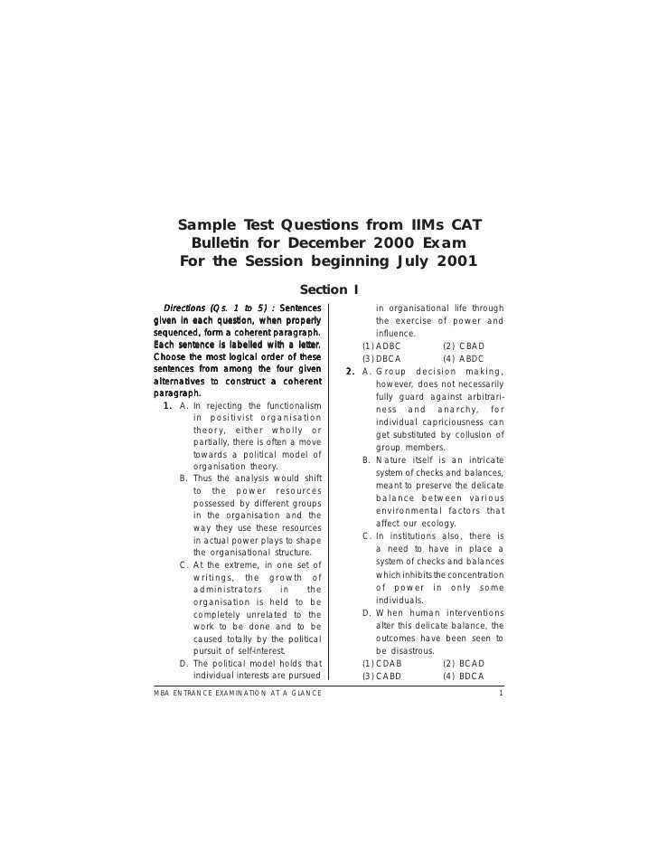 Sample Test Questions from IIMs CAT        Bulletin for December 2000 Exam       For the Session beginning July 2001      ...