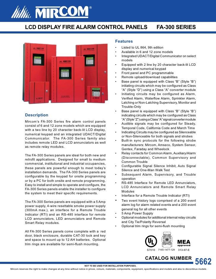Mircom FA-300 Series Six Zone LCD Fire Alarm Control Panels