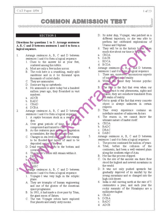 CAT 1994 Previous Year Question Paper with Answer Key