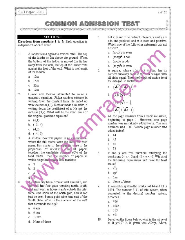 CAT 2001 Previous Year Question Paper with Answer Key
