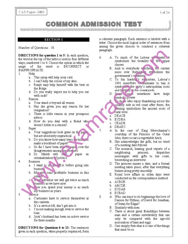 CAT 2003 Previous Year Question Paper With Answer Key
